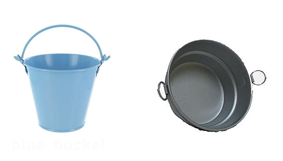 Mini Blue Bucket - $.99 at Hobby Lobby.   Mini Wash Tub Bucket, $1.99 at Hobby Lobby.
